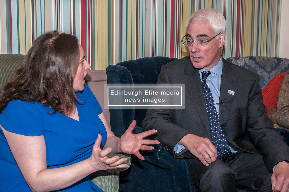 Better Together leader Alistair Darling joined a small group, including business people and trade unionists, in the Piecebox Cafe in Edinburgh to discuss the impact of Scottish independence on currency. Mr Darling was questioned closeley by Alison Dowling,who has over 20 years expereince with credit unions as customer, volunteer and director.  17 February 2014 (c) GER HARLEY | StockPix.eu