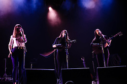 © Licensed to London News Pictures. 08/11/2012. London, UK.   The Staves performing live at Wembley Arena supporting Bon Iver. The Staves are an acoustic Folk Rock trio of sisters from Watford, England - Emily Staveley-Taylor - (vocals - left), Jessica Staveley-Taylor (vocals, guitar - right), .Camilla Staveley-Taylor (vocals, ukulele).   Photo credit : Richard Isaac/LNP