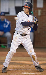 Virginia Cavaliers infielder Greg Miclat (2) watches a high pitch pass over home plate.  The Virginia Cavaliers Baseball Team defeated the Delaware Blue Hens 11-2 in the first of a three game series at Davenport Field in Charlottesville, VA on March 2, 2007.