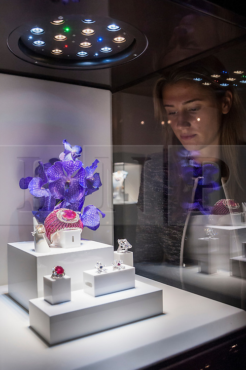 © Licensed to London News Pictures. 24/06/2015. London, UK.   A visitor looks at an ornate ruby on display at the Chatila stand, at the preview of Masterpiece London, the international cross-collecting Fair for art, antiques and design which takes place at The Royal Hospital Chelsea 25 June to 1 July. Photo credit : Stephen Chung/LNP
