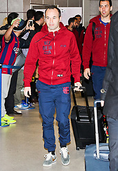 Andres Iniesta of FC Barcelona arrives at Manchester Airport with the squad ahead of the UEFA Champions League tie against Manchester City - Photo mandatory by-line: Matt McNulty/JMP - Mobile: 07966 386802 - 23/02/2015 - SPORT - Football - Manchester - Manchester Airport