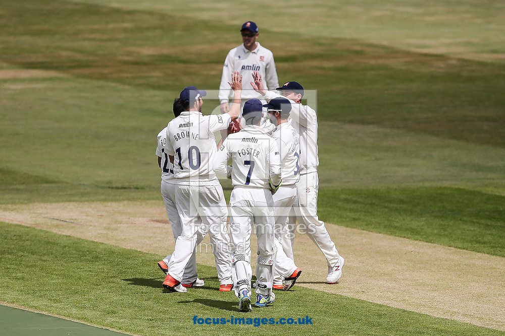 Essex players celebrate taking a Northamptonshire wicket  during the LV County Championship Div Two match at the County Ground, Northampton<br /> Picture by Andy Kearns/Focus Images Ltd 0781 864 4264<br /> 08/06/2015