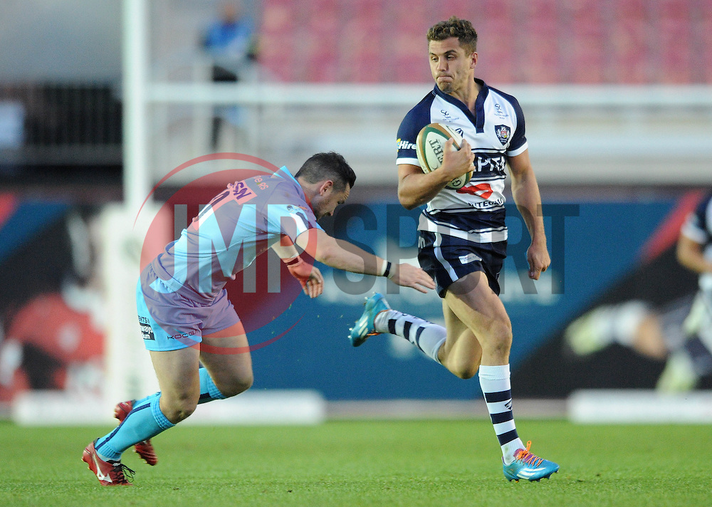 Bristol Fullback Jack Wallace is challenged by Worcester Warriors Fly Half Ryan Lamb - Photo mandatory by-line: Dougie Allward/JMP - Mobile: 07966 386802 - 20/05/2015 - SPORT - Rugby - Bristol - Ashton Gate - Bristol Rugby v Worcester Warriors - Greene King IPA Championship - Play-Off Final