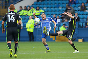 Sheffield Wednesday midfielder Barry Bannan (41) battles with Brighton & Hove Albion winger Jamie Murphy (15) during the EFL Sky Bet Championship match between Sheffield Wednesday and Brighton and Hove Albion at Hillsborough, Sheffield, England on 1 October 2016. Photo by Phil Duncan.