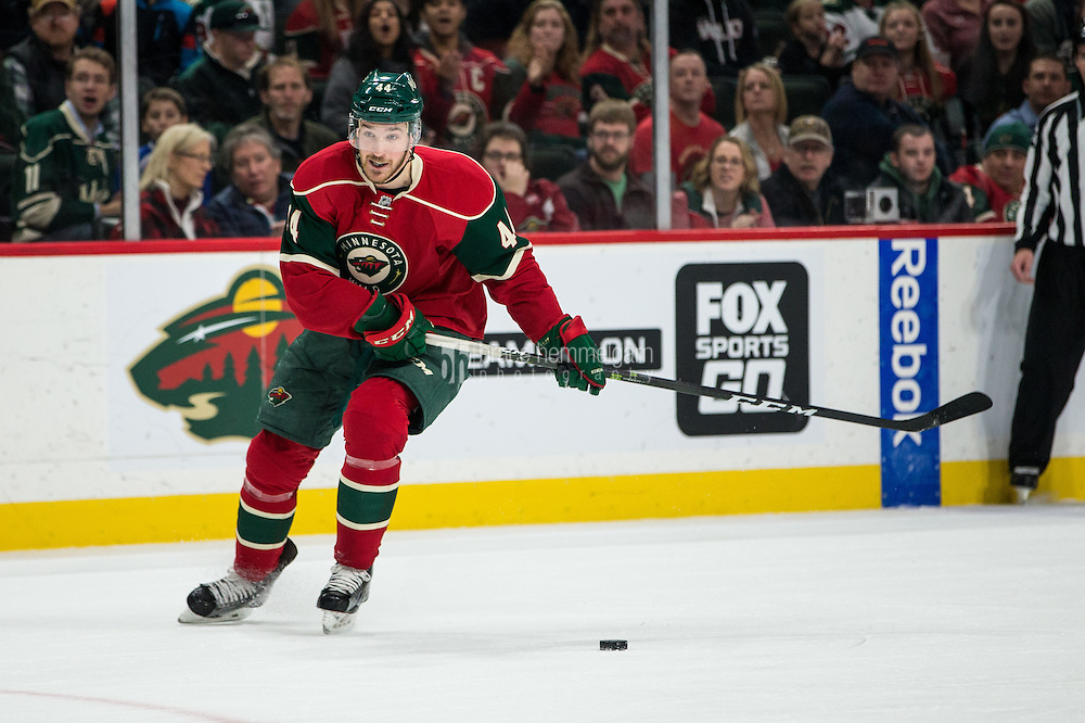 Dec 17, 2016; Saint Paul, MN, USA; Minnesota Wild forward Tyler Graovac (44) against the Arizona Coyotes at Xcel Energy Center. The Wild defeated the Coyotes 4-1. Mandatory Credit: Brace Hemmelgarn-USA TODAY Sports