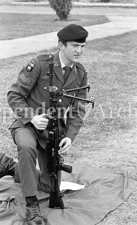 Cpl Kevin Connolly B Company Dun Laoghaire, Bren Gun Instructor at the 21st Infantry Battalion Summer Camp in Gormanston Camp, Meath, 05/08/1982 (Part of the Independent Newspapers Ireland/NLI Collection).
