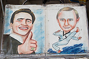 Nevski Prospekt. Street painter caricatures of Californian Governor Arnold Schwarzenegger (l.) and Russian President Vladimir Putin...A river cruise from Moscow to St. Petersburg aboard MS Kazan, the most luxurious vessel (four star plus) operating in Russia. It is run by Austrian River Cruises under strictly Western standards, chartered - amongst others - by Club 50, a senior's travel agency based in Vienna.