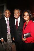 l to r: Bryon Lewis, Rev. Al Sharpton, and Guest at Rev. Al Sharpton's 55th Birthday Celebration and his Salute to Women on Distinction held at The Penthouse of the Soho Grand on October 6, 2009 in New York City
