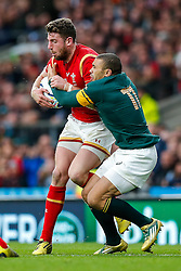 Wales Winger Alex Cuthbert is tackled by South Africa Winger Bryan Habana - Mandatory byline: Rogan Thomson/JMP - 07966 386802 - 17/10/2015 - RUGBY UNION - Twickenham Stadium - London, England - South Africa v Wales - Rugby World Cup 2015 Quarter Finals.