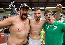 Dino Stiglec of NK Olimpija and fans of Olimpija celebrate after they became Slovenian National Champion 2018 after the football match between NK Domzale and NK Olimpija Ljubljana in 36th Round of Prva liga Telekom Slovenije 2017/18, on May 27, 2018 in Sports park Domzale, Domzale, Slovenia. Photo by Vid Ponikvar / Sportida