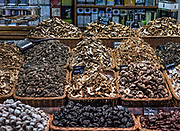 Mushroom vendor at the Mercat de Sant Josep de la Boqueria, Barcelona, Spain.
