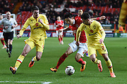 Milton Keynes Dons defender George Baldock holds off an attack during the Sky Bet Championship match between Charlton Athletic and Milton Keynes Dons at The Valley, London, England on 8 March 2016. Photo by Martin Cole.