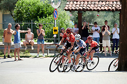 Leah Kirchmann (CAN) leads the bunch up the Chiesa climb at Stage 3 of 2019 Giro Rosa Iccrea, a 104.7 km road race from Sagliano Micca to Piedicavallo, Italy on July 7, 2019. Photo by Sean Robinson/velofocus.com