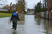 © Licensed to London News Pictures. 12/02/2014. Old Windsor, UK Flooding in OLD WINDSOR in Surrey today 11th February 2014 after the River Thames burst its banks. The Environment Agency has issued 14 Severe Flood Warnings alone the Thames. Photo credit : Stephen Simpson/LNP