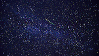 Perseid Meteor Flyby. Traces of nickel and sodium forms the composite color of green and yellow.