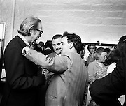 As part of the Bloomsday celebrations, Joyce's Tower, Sandycove was renovated and opened to the public. The tower is an important part of the novel ULysses. Dominic Behan aims a playful punch at Professor Kevin Sullivan, Columbia University, watched by Proinsias Mac Aonghusa (centre).16/06/1972
