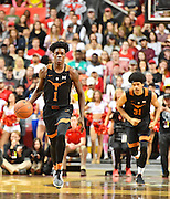 LUBBOCK, TX - MARCH 1: Andrew Jones #1 of the Texas Longhorns brings the ball up court during the game against the Texas Tech Red Raiders on March 1, 2017 at United Supermarkets Arena in Lubbock, Texas. Texas Tech defeated Texas 67-57. (Photo by John Weast/Getty Images) *** Local Caption *** Andrew Jones