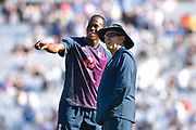 Jofra Archer of England watching his tv interview on the big screen with England head coach Trevor Bayliss ahead of the 5th International Test Match 2019 match between England and Australia at the Oval, London, United Kingdom on 14 September 2019.