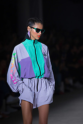 April 26, 2018 - Sao Paulo, Sao Paulo, Brazil - Model presents creation by Juliana Jabour, during the Sao Paulo Fashion Week, N45 Aut/Win 2018 edition, at Ibirapuera Park, in Sao Paulo, Brazil. (Credit Image: © Paulo Lopes via ZUMA Wire)