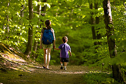 Two kids hiking in Skinner State Park in Hadley, Massachusetts.  Holyoke Range.  Connecticut River valley.