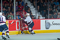 REGINA, SK - MAY 27: Libor Hajek #3 of Regina Pats checks German Rubtsov #98 of Acadie-Bathurst Titan into the boards during first period at the Brandt Centre on May 27, 2018 in Regina, Canada. (Photo by Marissa Baecker/CHL Images)