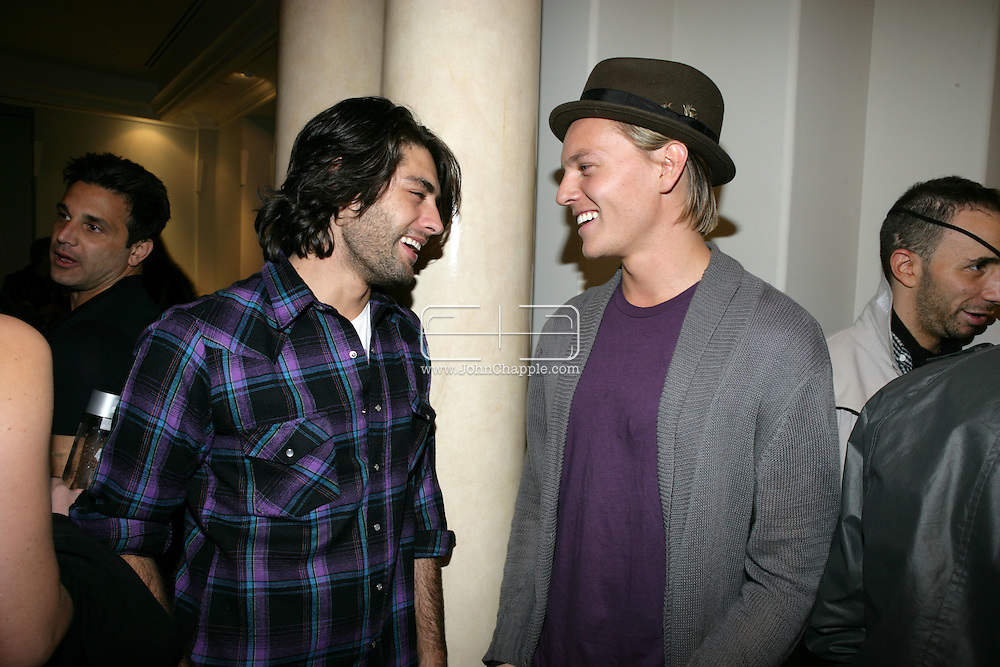 9th February 2009, Beverly Hills, California. Jay Lyon and Nicolas Potts from the band Tamarama, at Bondi Blonde's Style Mansion International Party, which was hosted by singer Katy Perry. PHOTO © JOHN CHAPPLE / REBEL IMAGES.tel: +1-310-570-910