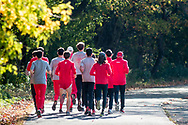 New York, New York  - Members of the Cornell men's cross country team warm up before the Ivy League Heptagonal cross country championship meet at Van Cortlandt Park in the Bronx on Oct. 26, 2017.