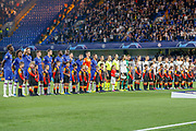 Chelsea and Valencia players line up before the Champions League match between Chelsea and Valencia CF at Stamford Bridge, London, England on 17 September 2019.