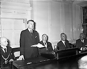 05/10/1954<br /> 10/05/1954<br /> 05 October 1954 <br /> Dublin Chamber of Commerce announcement of the new National loan at Dublin Chamber of Commerce, Dame Street, Dublin. Minister for Finance Gerard Sweetman T.D. announcing the loan.