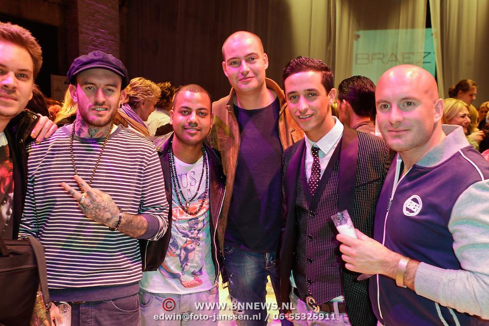 NLD/Amsterdam/20120320 - Modeshow Raak 2012 Amsterdam, Ben Saunders en broer Dean Saunders, Michela Mendoza, Lange Frans Frederiks en rapper Yes-R