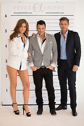 © licensed to London News Pictures. London, UK 05/11/2012. Peter Andre (centre) launching his menswear collection with two models at The Worx studious in London. The fashion collection 'alpha by Peter Andre' symbolises his Greek heritage. Photo credit: Tolga Akmen/LNP