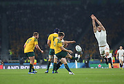 England's Lock George Kruis trying to charge down a Australia's fly half Bernard Foley clearance during the Rugby World Cup Pool A match between England and Australia at Twickenham, Richmond, United Kingdom on 3 October 2015. Photo by Matthew Redman.