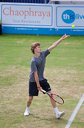 LIVERPOOL, ENGLAND - Sunday, June 21, 2015: Andrey Rublev (RUS) during Day 4 of the Liverpool Hope University International Tennis Tournament at Liverpool Cricket Club. (Pic by David Rawcliffe/Propaganda)