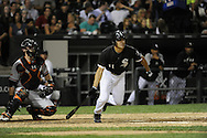 CHICAGO - AUGUST 26:  Omar Vizquel #11 of the Chicago White Sox bats against the Baltimore Orioles on August 26, 2010 at U.S. Cellular Field in Chicago, Illinois.  The White Sox defeated the Orioles 8-0.  (Photo by Ron Vesely)