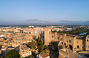 Parador de Tortosa, aerial view, or Zuda Castle, now a hotel, river Ebro and view over the town of Tortosa, Catalonia, Spain. Built in the 10th century under caliph Abderraman III, it was taken by Ramon Berenguer IV in 1148. Subsequently, the castle became a prison, was owned by the House of Montcada and by the Templars and was a royal palace under King Jaume I. On the left is the Cathedral of St Mary, built 1347-1757, designed by Benito Dalguayre in Catalan Gothic style and with an 18th century Baroque facade. Picture by Manuel Cohen