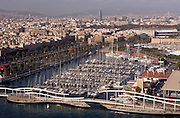 Overview of the port area of Barcelona, at the foot of the Ramblas, seen from from cable car