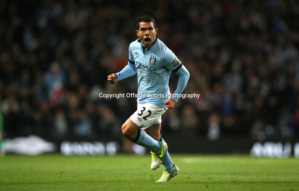 27th October 2012 - Barclays Premier League - Manchester City vs. Swansea City - Carlos Tevez of Man City celebrates after scoring their 1st goal - Photo: Simon Stacpoole / Offside.