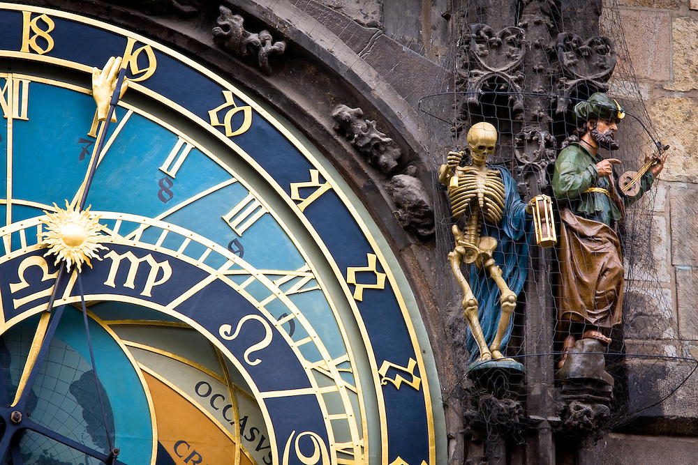 Detail of the astronomical clock in Prague, Czech Republic in the Old Town Square.