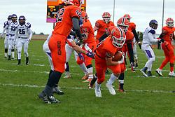 28 October 2017: Downers Grove North Trojans at Normal Community Ironmen. 1st Round playoff, IHSA football, Normal Illinois<br /> <br /> #nchsironmen  #IronFootball  #McLeanCountyU5  #alphoto513 #IHSA #IHSAFootball