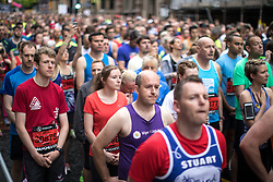 © Licensed to London News Pictures . 28/05/2017 . Manchester , UK . A one minute silence is held ahead of the start of the event . The Great Manchester Run 2017 . Security is still heightened in Manchester following a murderous bomb attack at an Ariana Grande gig at Manchester Arena on Monday 22nd May . Photo credit : Joel Goodman/LNP