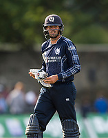 EDINBURGH, SCOTLAND - JUNE 12:  Scotland's Calum MacLeod out for a disappointing 12 in the first of 2 Twenty20 Internationals at the Grange Cricket Club on June 12, 2018 in Edinburgh, Scotland. (Photo by MB Media/Getty Images)