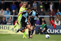 Luke O'Nien of Wycombe Wanderers takes on Rhys Oates of Hartlepool United - Mandatory byline: Robbie Stephenson/JMP - 07966386802 - 05/09/2015 - FOOTBALL - Adams Park Stadium -Wycombe,England - Wycombe Wanderers v Hartlepool United - Sky Bet League Two