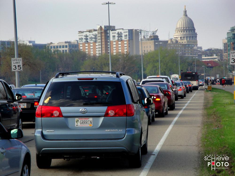 Traffice jam on John Nolan Drive in Madison, Wisconsin.