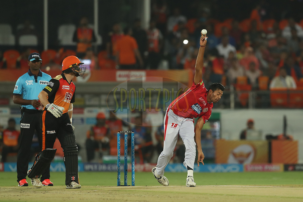Ankit Singh Rajpoot of the Kings XI Punjab during match twenty five of the Vivo Indian Premier League 2018 (IPL 2018) between the Sunrisers Hyderabad and the Kings XI Punjab  held at the Rajiv Gandhi International Cricket Stadium in Hyderabad on the 26th April 2018.<br /> <br /> Photo by: Ron Gaunt /SPORTZPICS for BCCI