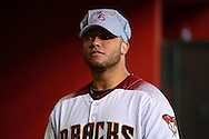 PHOENIX, AZ - JUNE 08:  Welington Castillo #7 of the Arizona Diamondbacks wears a train conductor's hat which reads 'Freight Train' for teammate David Peralta (not pictured) prior to the game against the Tampa Bay Rays at Chase Field on June 8, 2016 in Phoenix, Arizona.  (Photo by Jennifer Stewart/Getty Images)