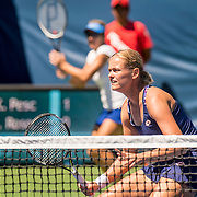 August 22, 2016, New Haven, Connecticut: <br /> Anna-Lena Groenefeld and Kveta Peschke in action during a US Open National Playoffs match on Day 4 of the 2016 Connecticut Open at the Yale University Tennis Center on Monday August  22, 2016 in New Haven, Connecticut. <br /> (Photo by Billie Weiss/Connecticut Open)