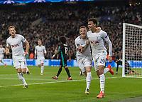 Football - 2017 / 2018 UEFA Champions League - Group H: Tottenham Hotspur vs. Real Madrid<br /> <br /> Dele Alli (Tottenham FC)  and Kieran Trippier (Tottenham FC) run off in celebration after he opens the scoring at Wembley Stadium.<br /> <br /> COLORSPORT/DANIEL BEARHAM