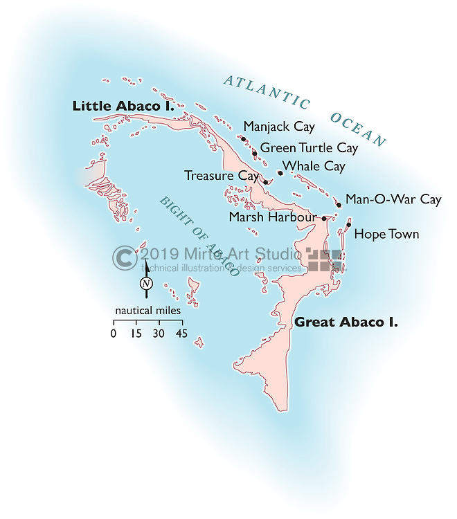 Vector map of Abacos Island, Bahamas