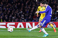 Cesc Fabregas of Chelsea scores the opening goal against Sporting Clube de Portugal from the penalty spot during the UEFA Champions League match at Stamford Bridge, London<br /> Picture by David Horn/Focus Images Ltd +44 7545 970036<br /> 10/12/2014
