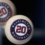 NEW YORK, NEW YORK - May 19: The bats of Daniel Murphy #20 of the Washington Nationals in the batting rack in the Washington Nationals dugout during the Washington Nationals Vs New York Mets regular season MLB game at Citi Field on May 19, 2016 in New York City. (Photo by Tim Clayton/Corbis via Getty Images)